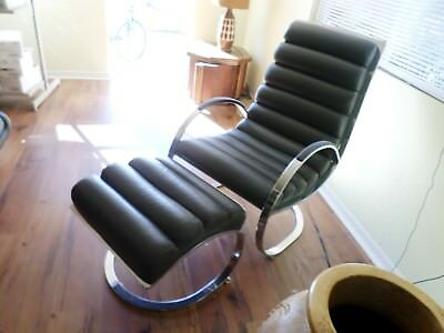 vintage milo baughman gray rolled leather lounge chair and ottoman chrome chaise