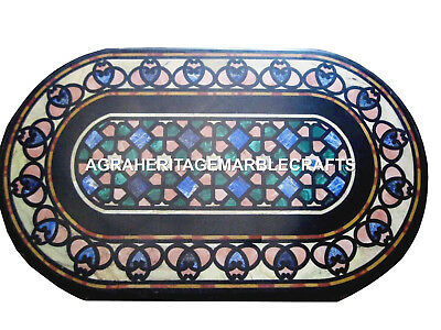 black marble dining coffee table top marquetry inlay gems collectible art h2423