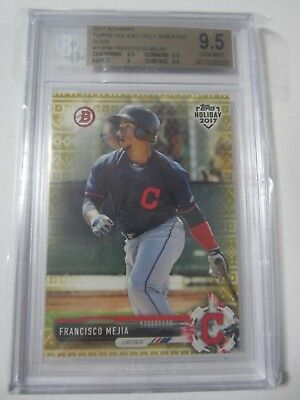 2017 bowman topps holiday francisco mejia ugly sweater gold #