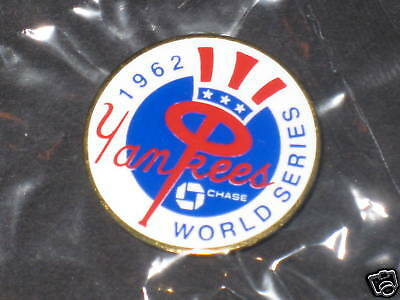 500 New York Yankee 1962 World Series Press Pins *chase 15th Anniversary In Pkg*
