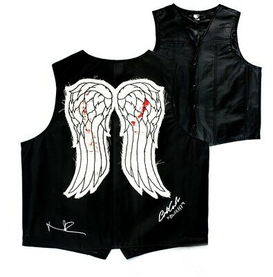 """Norman Reedus & Austin Amelio Signed Walking Dead Angel Wing Vest With """"dwight"""""""