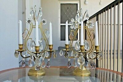 Pr Late 19thc Maison Bagues 3 Light Bronze Lyre Back/ Crystal Girandoles/ Candle