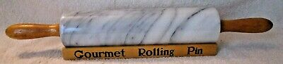 """Vintage """"marble Classics"""" Marble Rolling Pin And Wood Rack. Excellent Condition."""