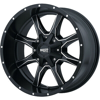 4- 20x10 Black Milled Mo970  8x6.5 -24 Rims Open Country Mt 38x13.5x20 Tires