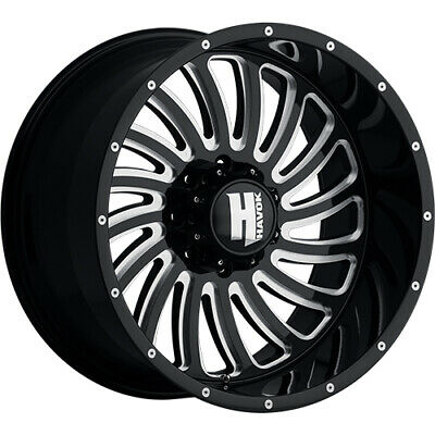 4- 20x10 Black Milled Havok H111  8x170 -24 Rims Open Country Rt 325/60/20 Tires