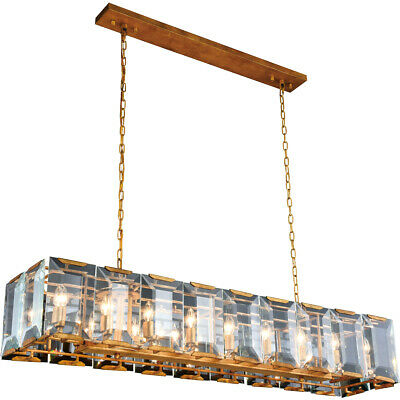 """Chandelier Golden Iron And Glass Kitchen Island Dining Room Fixture 18 Light 60"""""""