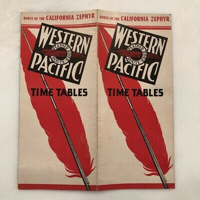 1949 Western Pacific Railroad Time Table California Zephyr Train Map Vintage