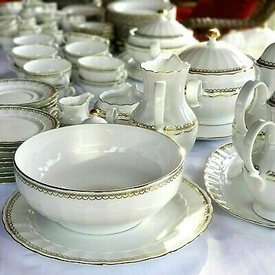 Rare Find dinnerware  Eschenbach Bavaria Germany 130 Pcs. White Gold Set Of 12.