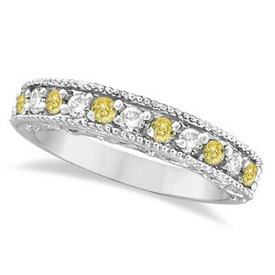0.50ct Fancy Yellow Canary & White Diamond Ring Band Stacking 14k White Gold