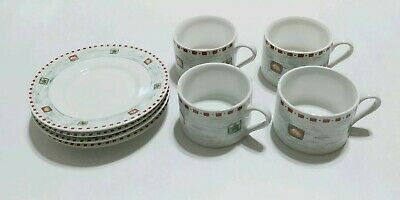 Gibson Housewares China 4 Cups And 4 Saucers Christmas Bells/star Tea Coffee