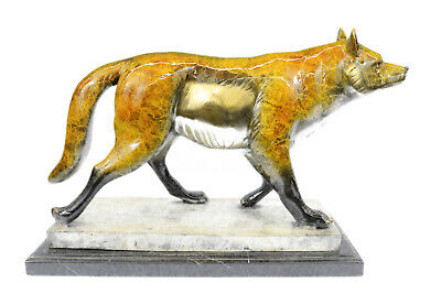 Art Deco Bronze Sculpture Statue Figure Wolf German Shepherd Dog Figurine Sale