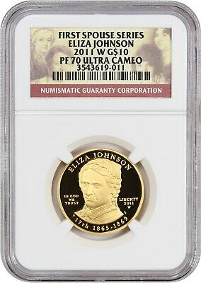 2011-w Eliza Johnson $10 Ngc Pr 70 Dcam - First Spouse .999 Gold