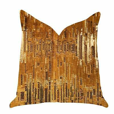 Plutus Thames City Lights Luxury Decorative Throw Pillow Brown, Gold Double Side