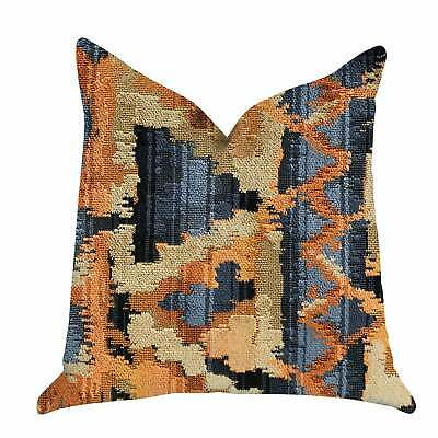 Plutus Sachi Love Luxury Decorative Throw Pillow In Multi Orange, Blue Double Si