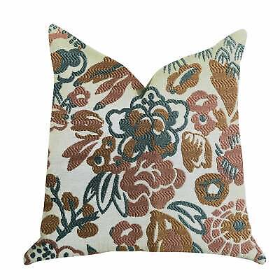 Plutus Floweret Luxury Decorative Throw Pillow Green, Brown, White Double Sided