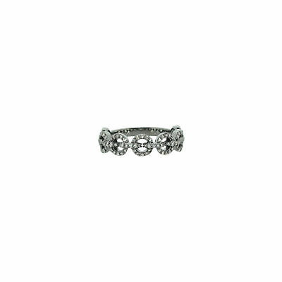 925 Sterling Silver Round Link Band Ring Pave Diamond Fine Jewelry Fj
