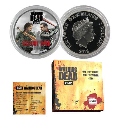 """2018 The Walking Dead """"all Out War"""" Cook Islands 1 Oz Silver $2 Amc Coin"""