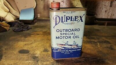 Antique Duplex Outboard Special Motor Quart Can Quaker State Oil City, Pa-nice!
