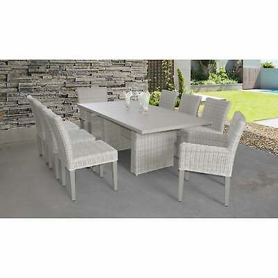 Coast Rectangular Outdoor Patio Dining Table With With 6 Vanilla Creme 9-piece S