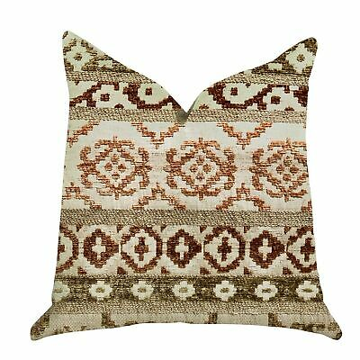 Plutus Arabesque Shades Of Brown Luxury Decorative Throw Tan, Red, Green Double