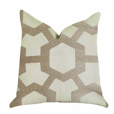 Plutus Linked Charisma Luxury Decorative Throw Pillow In Brown, Beige Double Sid