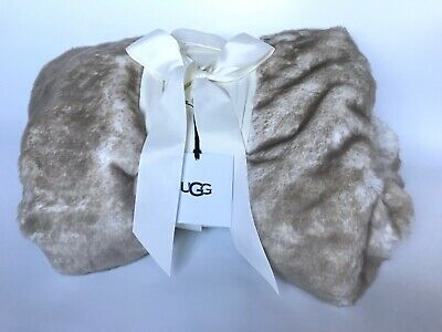 Ugg Luxurious Dream Fawn Tan Faux Fur Double Sided Throw Blanket 50 X 70 New Nwt