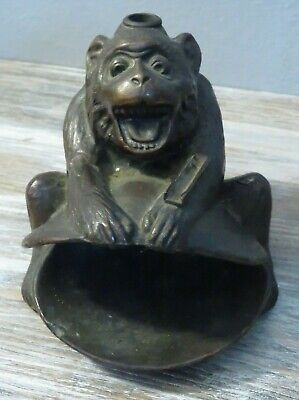 Antique Very Rare Ronson Monkey And Clam Striker Lighter / Ashtray  No Wand