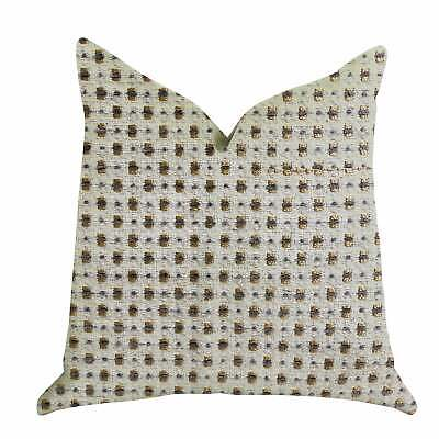 Plutus Haven Pointe Patterned Luxury Decorative Throw Pillow Gold, Beige Double