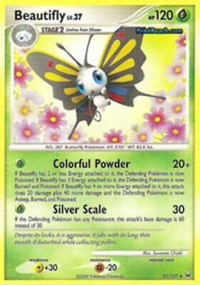 1 x HP Beautifly - 21/127 - Rare - Reverse Holo Platinum Pokemon TCG