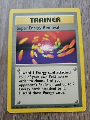 Super Energy Removal Trainer Card Shadowless Pokemon Original Base Set 79/102