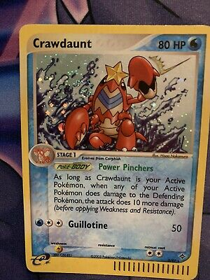 Crawdaunt Holo Pokemon Card 3/97 EX Dragon SWIRL LP/MP