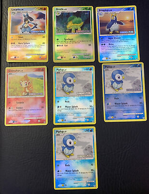 diamond and pearl stamped pokemon cards lucario piplup chimchar prinplup grotle