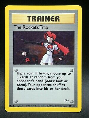 The Rocket's Trap 19/132 HOLO RARE Gym Heroes Unlimited 2000 Pokemon WOTC NM