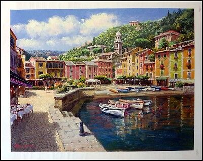 """S. Sam Park """"harbor At Portofino"""" 2003 Sold Out Silkscreen On Canvas H.signed"""