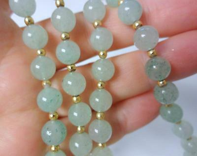 Vintage Chinese Delicate Ice Glossy White-green Jade 14k Gold Necklace Beautiful