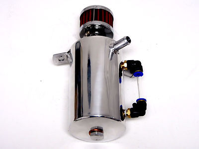 Vms Polished Aluminum .5 Liter Oil Reservoir Catch Can Tank With Breather Filter