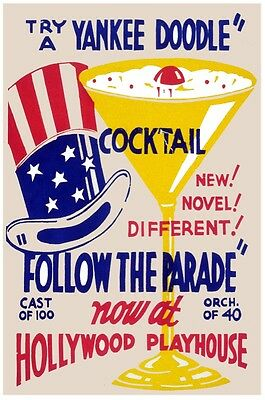 7456.try A Yankee Doodle Cocktail.float In Champagne Glass.poster.art Wall Decor