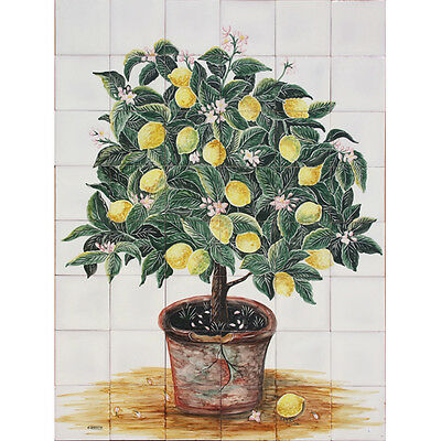 Portuguese Hand Painted Clay Tile Azulejo Panel Mural Old Lemons Fruit Tree Vase