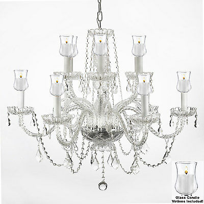 """Crystal Chandelier Lighting Chandeliers W/ Candle Votives H.27"""" X W.32"""""""