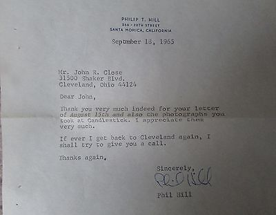 Phil Hill Hand Signed Letter 1965 Plus 1962 Book Phil Hill: Yankee Champion Rare