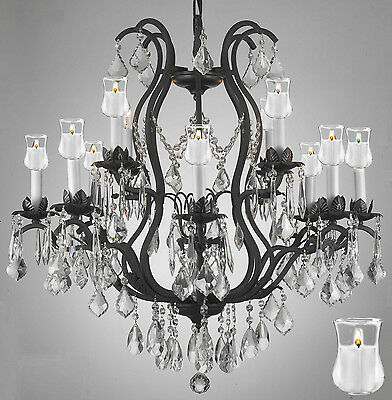 """Wrought Iron Crystal Lighting Chandelier With Candle Votives H30"""" X W28"""""""