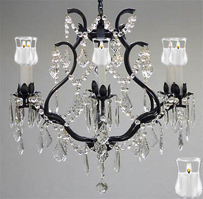 """Wrought Iron Crystal Chandelier Lighting With Candle Votives H 19"""" W 20"""""""
