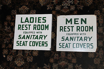 "Conoco Rest Room Mens/woman Set Porcelain Flange Sign ""sanitary Seat Covers"""