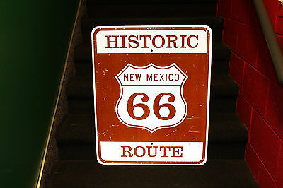 Original Historic New Mexico Route 66 Metal Road Reflective Highway Sign