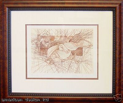 Guillaume Azoulay, The Fall, Hand Signed Fine Art Etching Horses Custom Framed