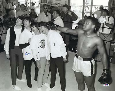 """muhammad ali cassius clay signed 16"""" x 20"""" the beatles photo  psa/dna"""