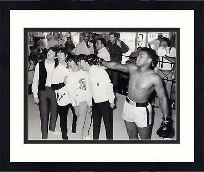 "framed muhammad ali signed 16"" x 20"" the beatles photo signed in black"