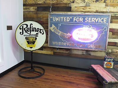 Early Refiners Original Lollipop Curb Porcelain Gas Oil Station Auto Sign