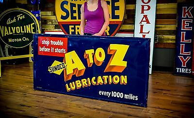 Vintage Sunoco Sign 1948 Lubrication Service Station Gas Oil Advertisng Real Wow