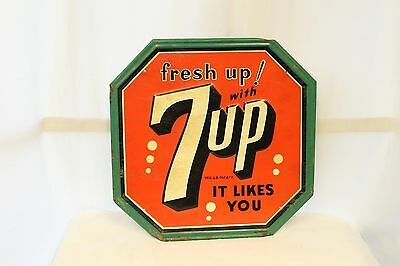 1940-50s Original 7up Soda Tin Octagon Advertising Sign By Stout Sign Co.